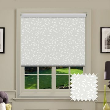 White Leaf Patterned Roller Blind in Chatsworth White